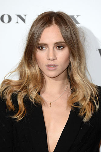 Make up by Lyz Marsden, Suki Waterhouse attends at Vogue 100: A Century Of Style at the National Portrait Gallery on February 9, 2016 in London, England